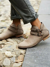 Free People Braeburn Side Cut Out Ankle Boots Size 37 Taupe Leather