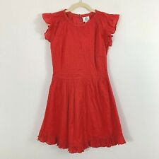 DRA Los Angeles ANTHROPOLOGIE Red Dress Size Small Cotton Ruffle Sleeves Keyhole