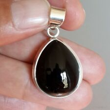 Pendentif argent massif 925 poinçonné et pierre naturelle onyx noir