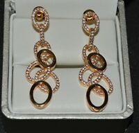 18ct/k Yellow Gold Filled Drop/Dangle Stud Earrings Made With Swarovski Crystal