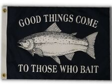 """Pirate Fishing Bait 12"""" x 18"""" Two Sided Flag Indoor Outdoor Grade Polyester Usa"""