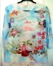 BREEZY MODE Medium Blouse-Multicolored-Floral scene design-3/4 sheer sleeves