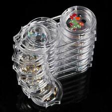 6pcs Nail Art Storage Box Removable Case Rhinestone Gems Decor Holder Plastic zx