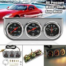 2'' 52mm Triple 3In1 Oil Pressure Water Temp Amp Gauge Meter Set Chrome Bezel -