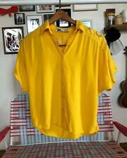 Vintage Sassy Doll Yellow Button Down Crop Top Embroidered Clower Cut Outs
