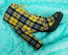 """Florance Mustard Yellow Plaid Lace Up 4"""" Block Heel Ankle Boots 6-10"""