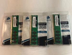 Corsair 6GB 3x2GB Desktop Memory DDR2  800MHz (VS2GB800D2) New Set of 3 2GB