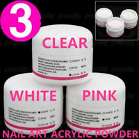 3 Colors ACRYLIC POWDER NAIL ART False Tips SALON Tools Set WHITE+CLEAR+PINK HI