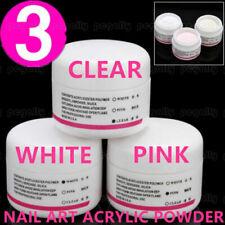 3 Colores Acrílico Polvo Arte en Uñas Puntas falsas Conjunto de Herramientas de Salón Blanco + + Claro Rosa Hi