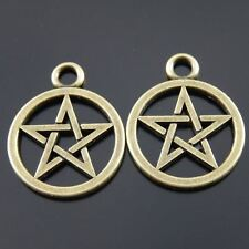 40pcs Antiqued Bronze Tone Hollowed Wiccan Symbol Charms Pendants 20*20mm