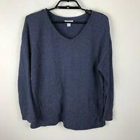 Purejill Blouse Petite Size MP Blue Striped Long Sleeve Pockets Cotton Womens