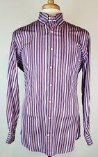 Peter Millar Men's Medium Purple Striped Long Sleeve Cotton Button Front Shirt