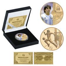 More details for maradona souvenir football star transparent collectible coins card gift.