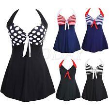 Plus Size Women Lady One Piece Swimsuit Skirted Swimwear Swim Dress Bathing Suit