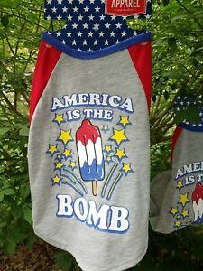 Medium - Dog Pet Puppy Gray T Shirt America is the Bomb (bomb pop theme) NWT