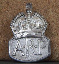 sterling Silver WW2 ARP wardens Mens Lapel badge  1938 london b2