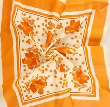 Vintage Scarf Floral Rayon Square Peach Off-White Flowers 1960s Neck Head