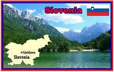 SLOVENIA MAP & FLAG - SOUVENIR NOVELTY FRIDGE MAGNET - BRAND NEW - GIFT
