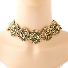 European New Fashion Carved Flower Retro Statement Charm Necklace