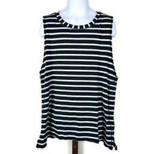Ivivva by Lululemon Black White Striped Pima Cotton Tank Top Girls Size 14