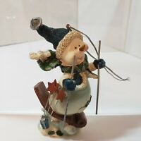 SKIING SNOWMAN CHRISTMAS ORNAMENT SCARF HAT HANGING