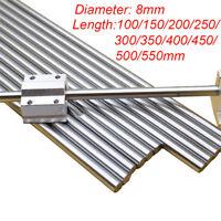 100~550mm Chromed Smooth 8mm Rod Steel Linear Rail Shaft For 3D Printer CNC New