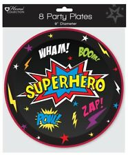 "Childrens Birthday Party BBQ etc 9"" Paper Plates - Boys Superhero - 8 Pack"