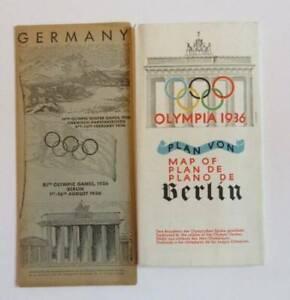 1936 Olympics Berlin Germany Brochure Booklet Foldable Map