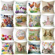 """18"""" Spring Easter Bunny Egg Pillow Case Throw Cushion Cover Car Home Sofa Decor"""