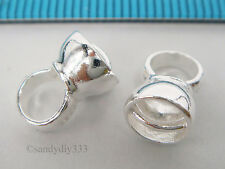 2x BRIGHT STERLING SILVER PENDANT BAIL SLIDER with END CAP CONNECTOR #2175