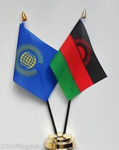 Commonwealth & Malawi Double Friendship Table Flag Set