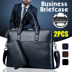 2PCS Men's Business Leather Briefcase Handbag Laptop Shoulder Bag Zipper  New