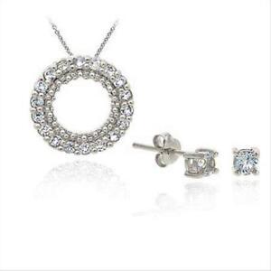 925 Silver Blue Topaz Eternity Pendant & Stud Earrings Set