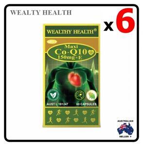 6 x WEALTHY HEALTH Maxi CoQ10 150mg + E  60 Tablets Capsuels