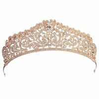 Wedding Bridal Rose Gold Crystal Rhinestone Pageant Tiara Crown Party Headb S2U0