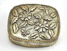 Vintage Chinese Shard Box Tibetan Silver Trinket Treasure Jewelry Mirror Flower