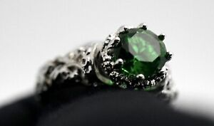 Created Emerald & Sapphire Fine Jewelry Brass with 3x 14k Gold Overlay Ring