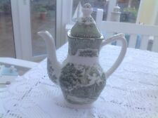 Grindley English Country Inns Green & White Coffee Pot