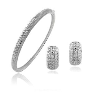Diamond Accent Earrings & Bangle Bracelet Jewelry Set