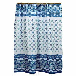 """Carnation Home """"South Beach"""" Fabric Shower Curtain in Light Blue"""
