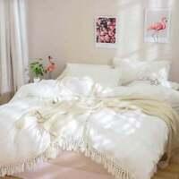Cotton Handmade Tassels Duvet Cover Bohemian Bedding Fringes Quilt Cover Donna