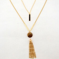 Women's Gold Plated Multideck Amber Stones Tassels Pendant Necklace