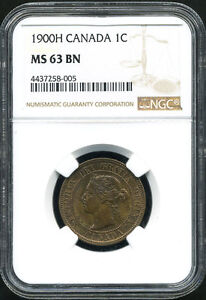 CANADA QUEEN VICTORIA 1900H ONE CENT  NGC MS63 BN