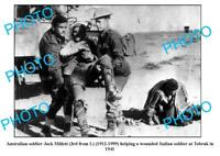 OLD 8x6 PHOTO AUSTRALIAN ANZAC SOLDIER HELPING ITALIAN WOUNDED TOBRUK c1941