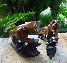 Antique Pair (2) Chinese Huanghuali Wood TIGERS