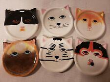 Set of 6 Cat Face Coasters Plates Porcelain Ceramic Bandwagon 4 x 4 2001 vintage