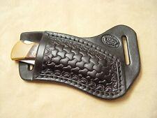 MANO DERECHA Custom Negro Cuero Viajes con Tri-Weave para Buck Cuchillo de 110//112