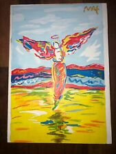 peter max  Hand-painted acrylic painting on old wood signed & stamped VTG art