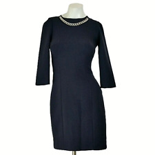 H&M Womens Dress 2 Navy Blue Ponte Knit 3/4 Sleeve Accent Chain Sheath Career