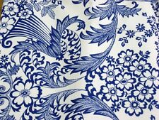 BLUE PARADISE LACE COUNTRY PICNIC OILCLOTH VINYL SEWING CRAFT DECOR FABRIC BTY